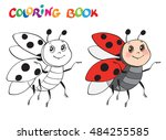 coloring book or page with... | Shutterstock .eps vector #484255585
