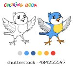 coloring book with blue bird....   Shutterstock .eps vector #484255597