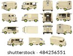 food truck beige cafe on wheels ... | Shutterstock . vector #484256551