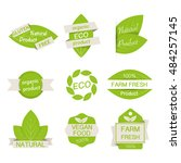 set of labels vegetarian leaf... | Shutterstock .eps vector #484257145