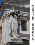 Small photo of Statue on the fa�§ade of the Cathedral of Urbino
