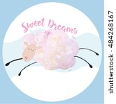 sweet dreams. sleepy sheep on... | Shutterstock .eps vector #484268167