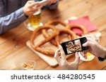 people  food  and technology... | Shutterstock . vector #484280545