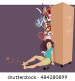 overfilled closet bursting with ... | Shutterstock .eps vector #484280899