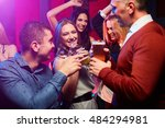young group of smiling people... | Shutterstock . vector #484294981