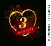 3 Years Anniversary Logo Golde...