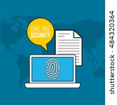 online security flat line icons ... | Shutterstock .eps vector #484320364