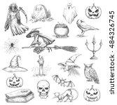 halloween sketch icons. vector... | Shutterstock .eps vector #484326745