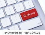 Small photo of Endorse word in red keyboard buttons