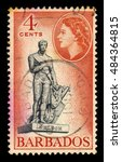 Small photo of BARBADOS - CIRCA 1954: A stamp printed in Barbados shows Admiral Nelson statue in Bridgetown at Trafalgar Square (now renamed National Heroes' Square), Barbados, circa 1954