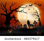 halloween night background with ... | Shutterstock . vector #484379617