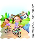 boy and girl cycling outside | Shutterstock . vector #484390309