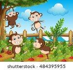 four monkeys in the vegetable...   Shutterstock .eps vector #484395955