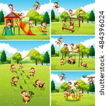 lots of monkeys playing on... | Shutterstock .eps vector #484396024