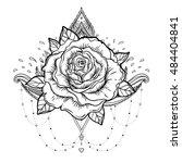 blackwork tattoo flash. rose...   Shutterstock .eps vector #484404841