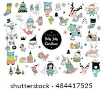 christmas hand drawn cute... | Shutterstock .eps vector #484417525