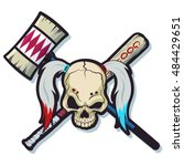 harlequin skull with hammer and ... | Shutterstock .eps vector #484429651