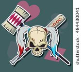 harlequin skull with hammer and ... | Shutterstock .eps vector #484430041