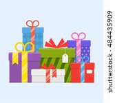 a pile of gifts with ribbons... | Shutterstock .eps vector #484435909