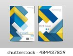 geometric brochure front page ... | Shutterstock . vector #484437829