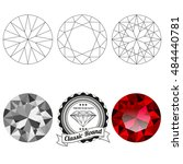 set of classic round cut jewel... | Shutterstock .eps vector #484440781