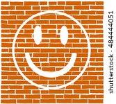 white smile on red brick... | Shutterstock .eps vector #484444051