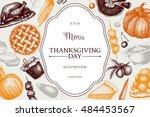 thanksgiving day menu design.... | Shutterstock .eps vector #484453567