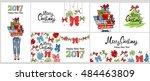 happy 2017 new year  merry... | Shutterstock .eps vector #484463809
