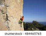 rock climber to climb the wall.   Shutterstock . vector #484465765