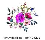 watercolor winter floral...   Shutterstock . vector #484468231
