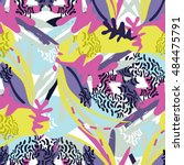 abstract floral elements paper... | Shutterstock .eps vector #484475791