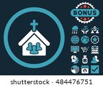 church icon with bonus symbols. ... | Shutterstock .eps vector #484476751