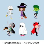halloween kids. set of cartoon... | Shutterstock . vector #484479925