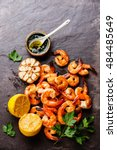 prawns shrimps roasted and... | Shutterstock . vector #484485649
