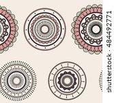 seamless round ornament pattern ... | Shutterstock .eps vector #484492771