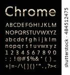 chrome letter set with gold... | Shutterstock .eps vector #484512475