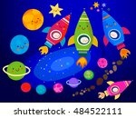 stars and planets  in space    Shutterstock .eps vector #484522111