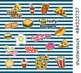 fashion patch badges with... | Shutterstock .eps vector #484523737