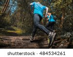 two trail running athlete... | Shutterstock . vector #484534261