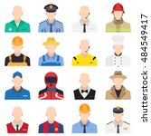 professions flat icon set. you...