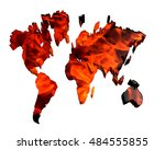 3d illustration. world map on a ... | Shutterstock . vector #484555855