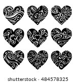 vector tribal hearts in black... | Shutterstock .eps vector #484578325