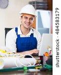 successful engineer in uniform... | Shutterstock . vector #484583179