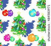 seamless pattern christmas tree ... | Shutterstock .eps vector #484583971
