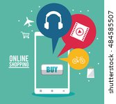 shopping online ecommerce and... | Shutterstock .eps vector #484585507