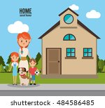 home house building and family... | Shutterstock .eps vector #484586485