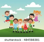 group of happy boys and girls... | Shutterstock .eps vector #484588381