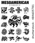 set of mesoamerican symbols in... | Shutterstock .eps vector #484605781
