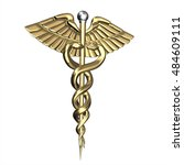 golden caduceus medical symbol. ... | Shutterstock . vector #484609111
