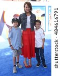 """Small photo of LOS ANGELES - SEP 17: Annabeth Gish, Cash Allen and Enzo Allen arrives to the """"Storks"""" World Premiere on September 17, 2016 in Westwood, CA"""